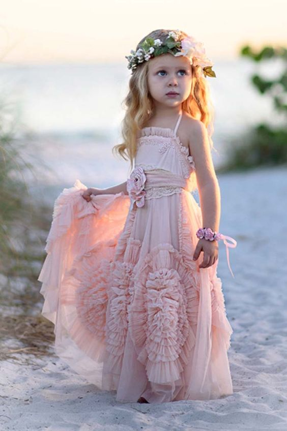 Rustic Flower Girl Dresses For Wedding Pink Princess Tutu Tulle 2017 Vintage Dress Cheap Girls Pageant
