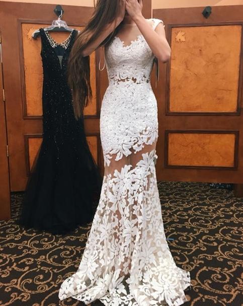 White Lace Mermaid Prom Dresses Sheer Sleeveless Elegant Evening ...