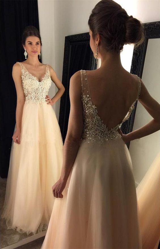 Popular prom dress, V-neck prom dresses, Appliques prom dress ...
