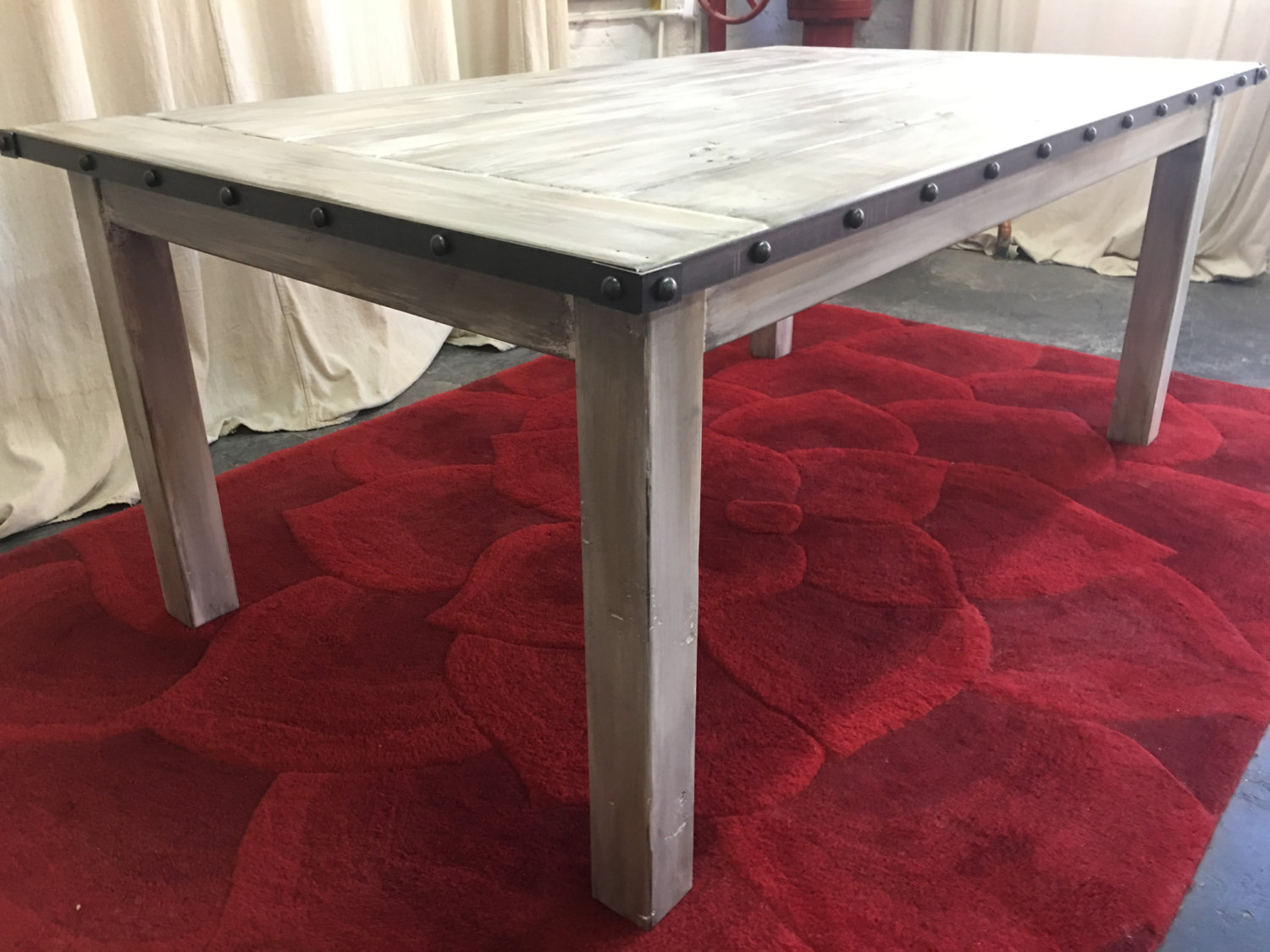 ... Dining Table, Farmhouse Table, Metal Banding, Reclaimed Wood Table,  Kitchen Table,