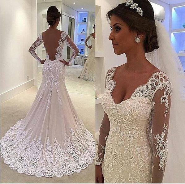 Mermaid V-back Long sleeves Lace Wedding Dress · Sanct Sophia ...