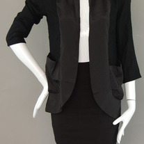 Black Blazer Jacket Cardigan 3/4 Sleeve Solid Pocket - Black