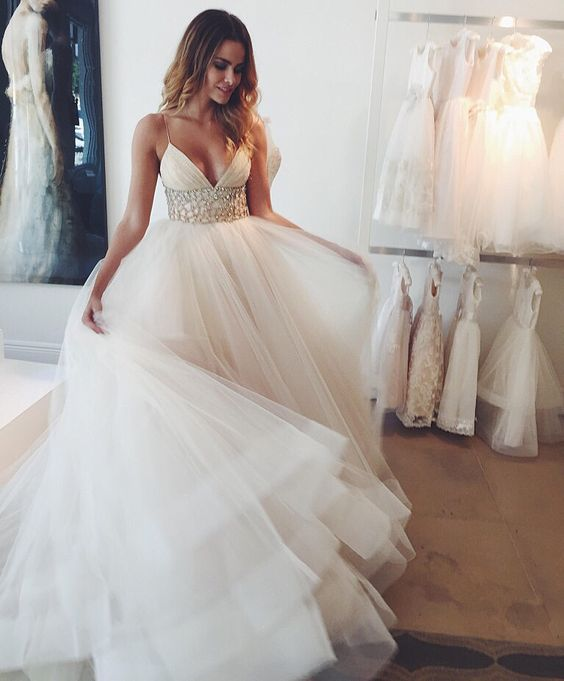 A-line Spaghetti Straps Beaded Belt Tulle Wedding Dress White Simple ...
