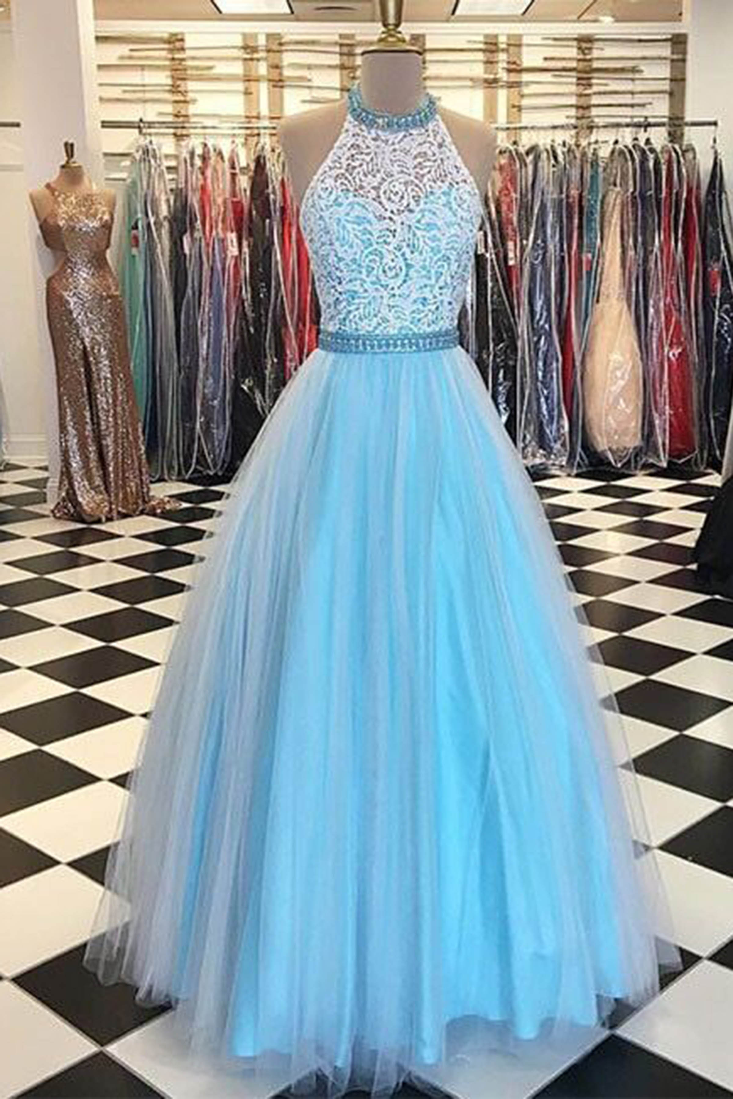 Light blue tulle lace halter A-line long dresses, evening dresses ...