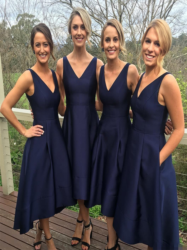 Short Bridesmaid Dress Navy Blue Bridesmaid Dress V Neck