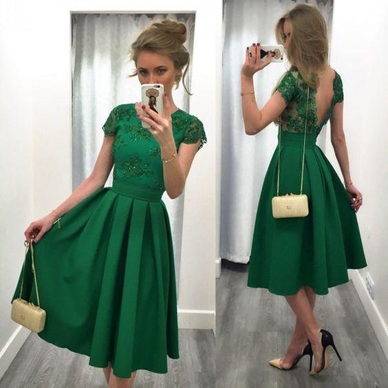Charming Prom Dress,Satin Prom Dress,Lace Prom Dress,Backless Short ...