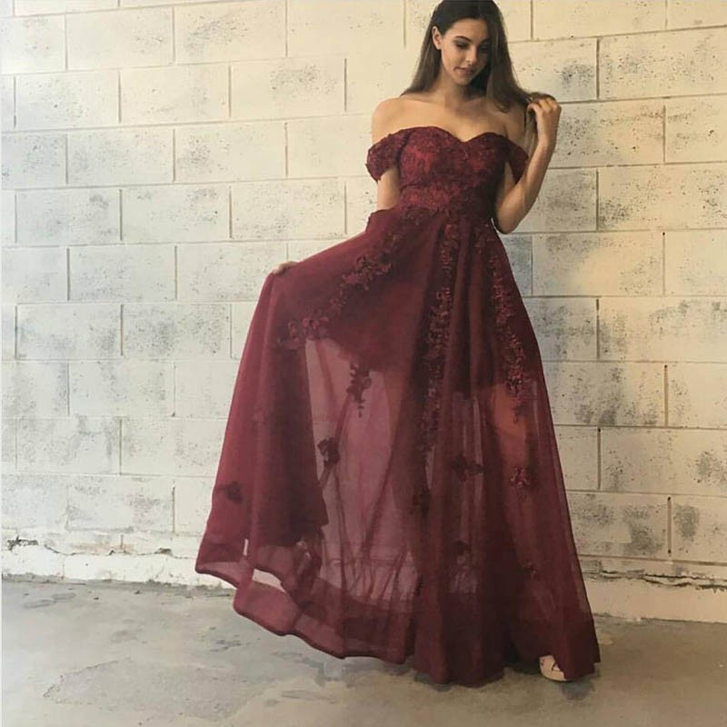 Burgundy Lace Of Shoulder Long Prom Dress Burgundy