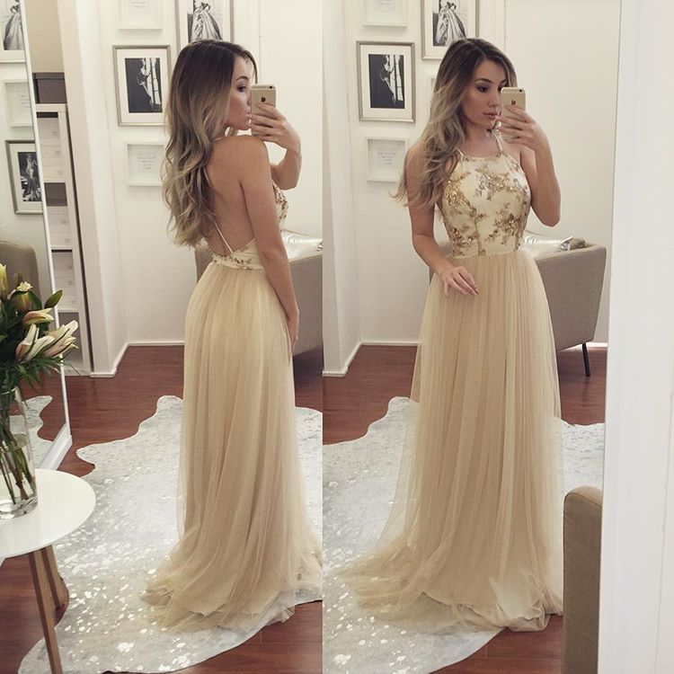 Champagne Halter Prom Dress,Backless Tulle Formal Gown,Party Dress ...