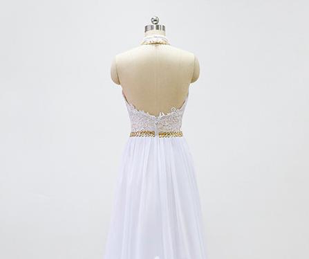 White prom dress, halter prom dress, long prom dress, lace prom ...