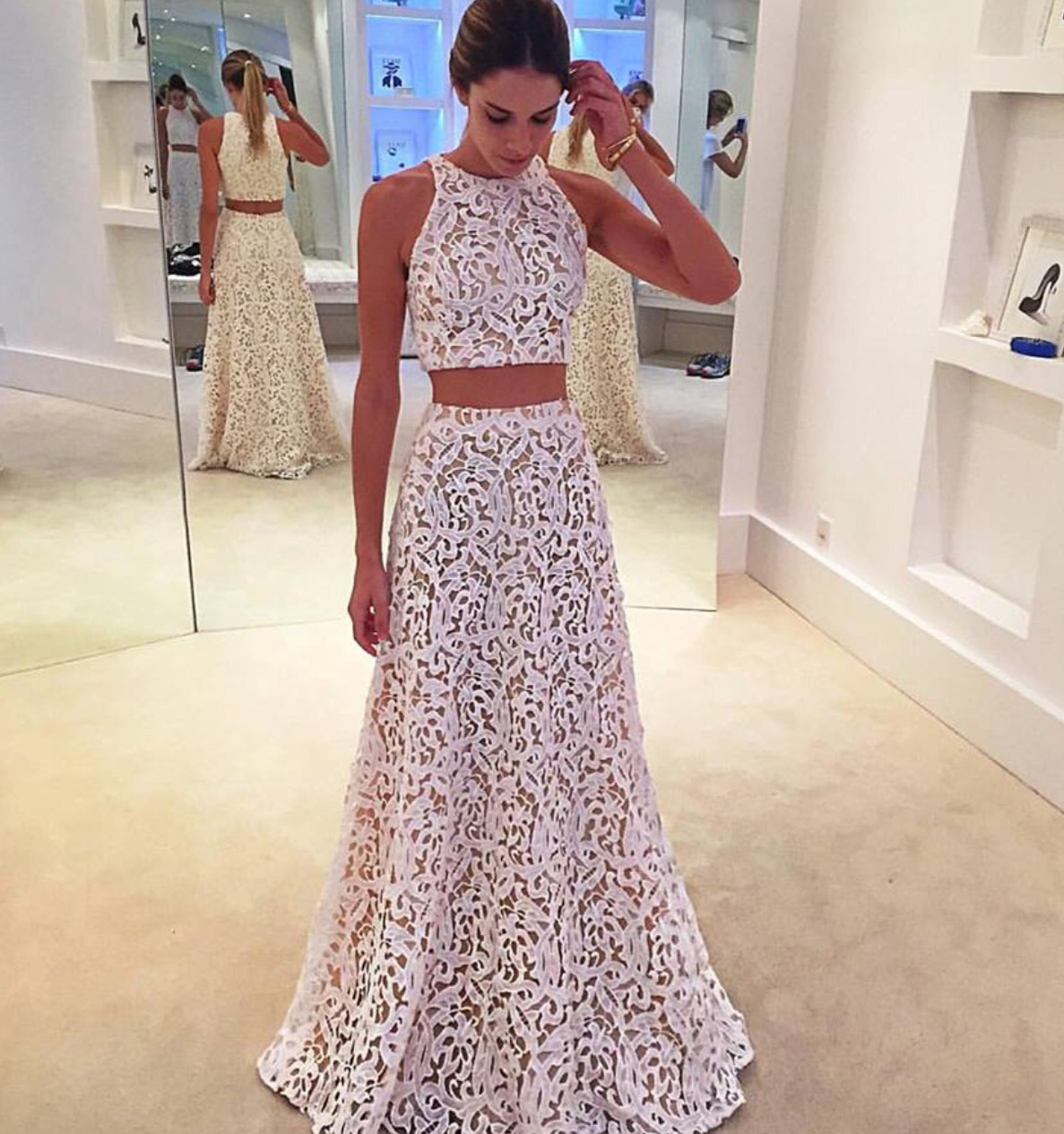 White Lace Formal Gown,Two Piece Prom Dress,Sleeveless Party Dress ...