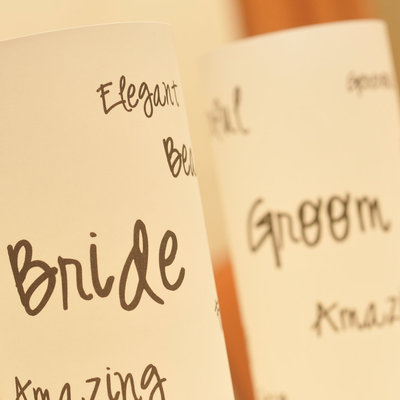 Bride & groom luminarias - sweetheart table decor