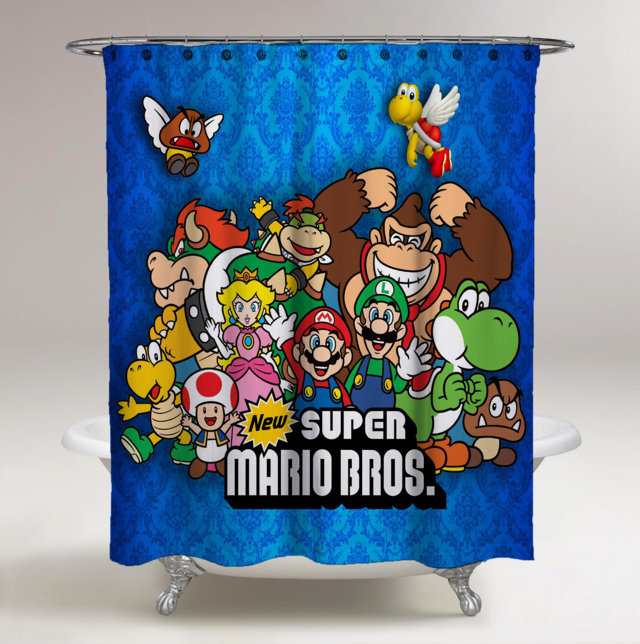 Shower Curtains Super Mario Bros All Character Print On