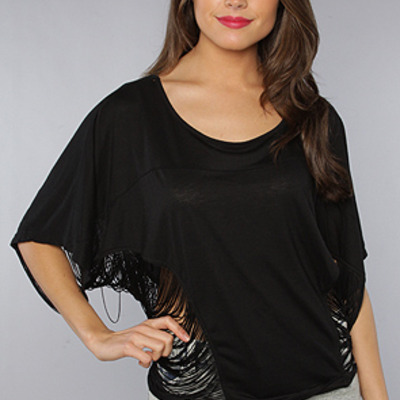 The sexy fringe dolman in black