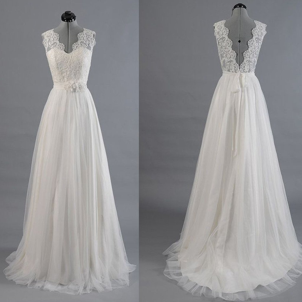 V-neck A-line Appliqued Long Wedding Dress ,Handmade Bridal Dress ...