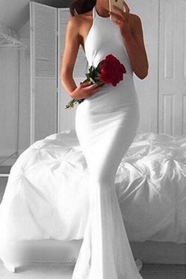 A400 Simple Halter Long Sleeveless White Mermaid Prom Dress,Cheap ...