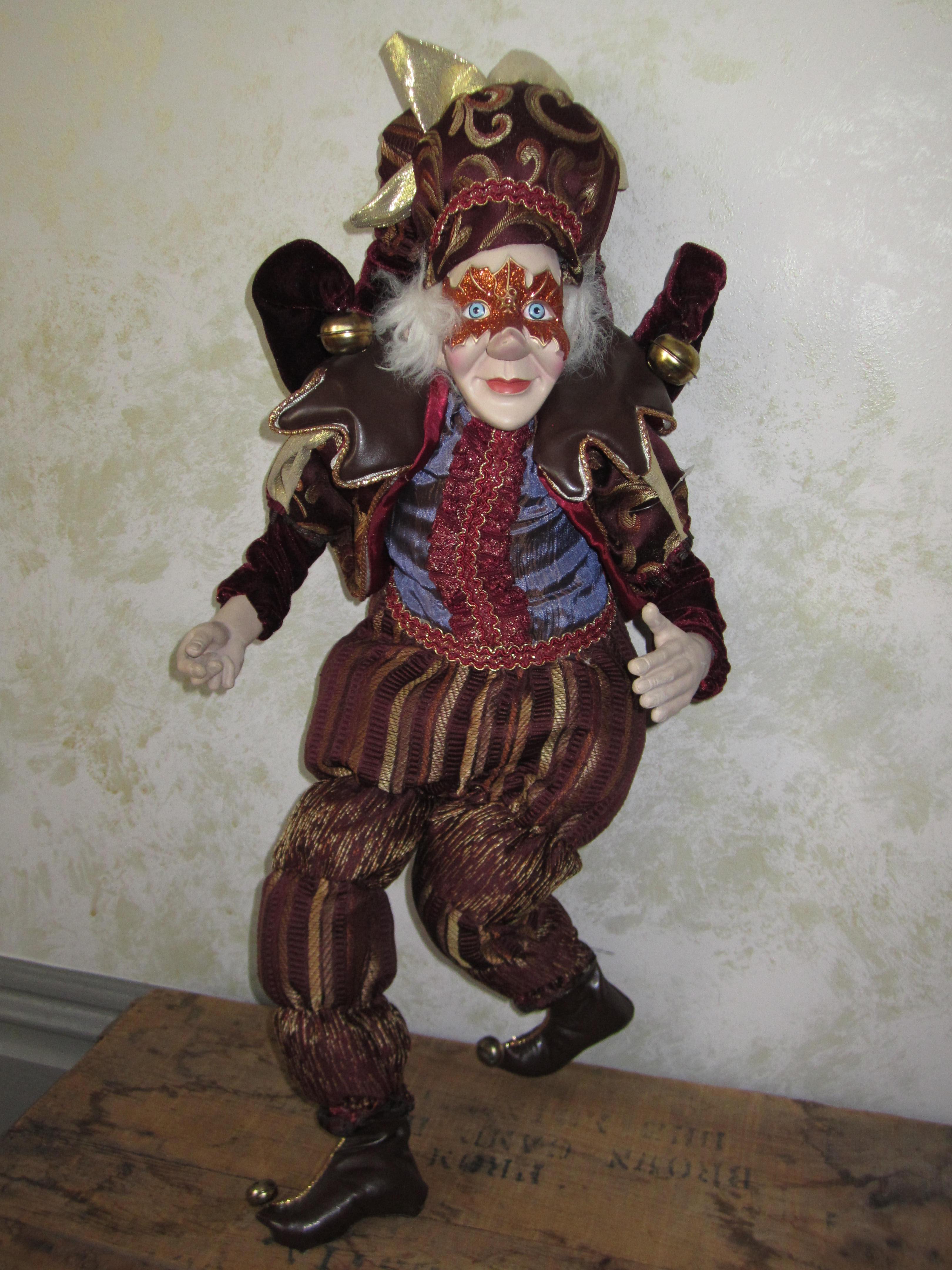 red harvest masquerade elf jester doll
