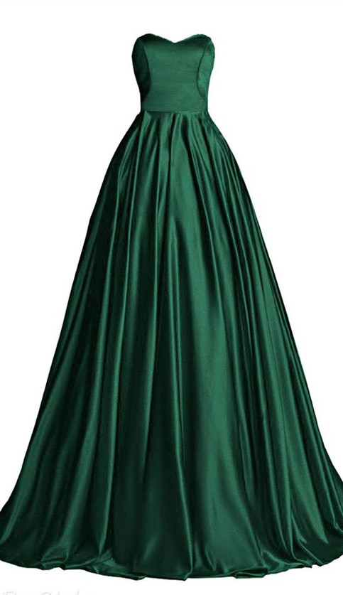 Hunter Green Ball Gown Sweetheart Bodice Prom Dress Custom