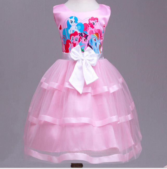Kids Girls My Little Pony Sleeveless Princess Birthday Party Dress ...