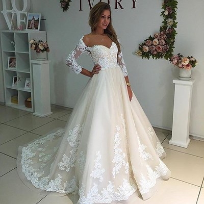 Beautiful Gorgeous A Line Three Quarter Sleeves White Lace Wedding Dress