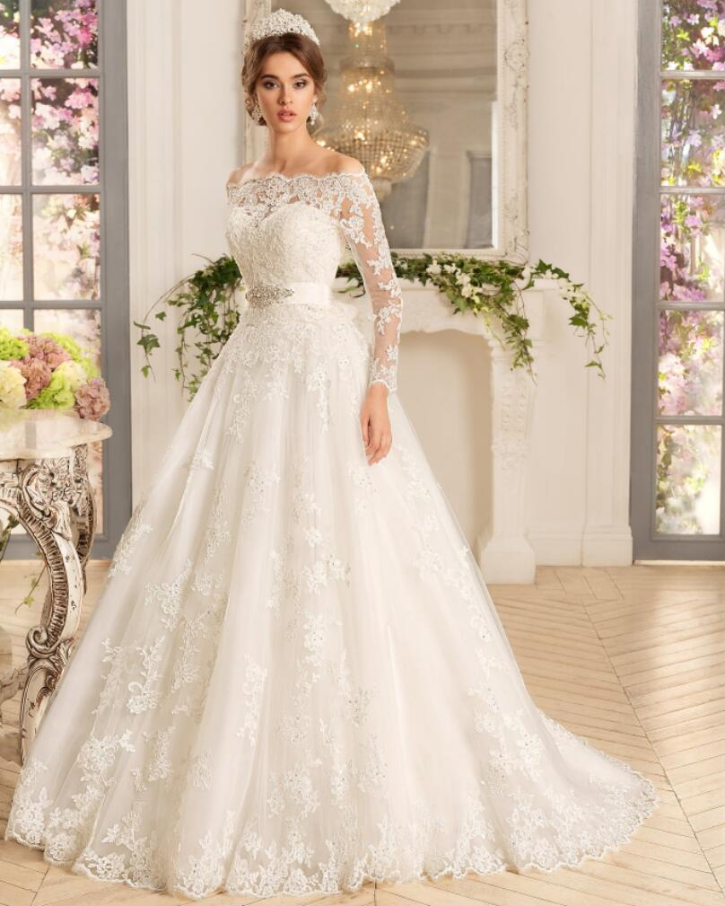 A443 Lace Long Sleve Bridal Lady Dresses, Princess One Boat Neck ...