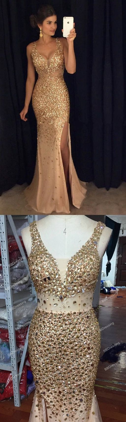 Sexy Long Crystal Beaded Prom Dress With Slit Mermaid Prom Dresses ...