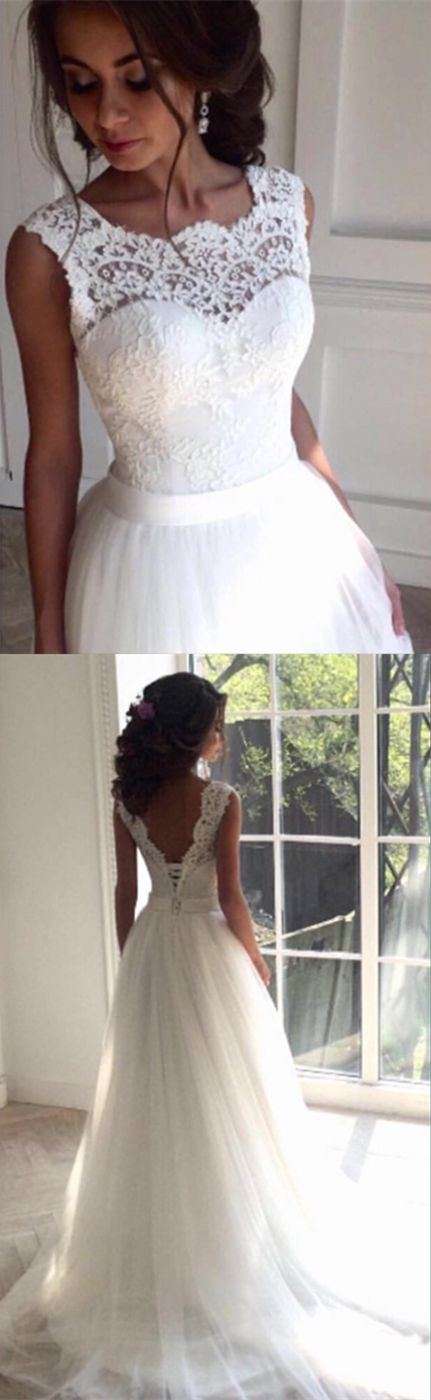 Elegant Lace top Wedding Dress,White Sleeveless Wedding Dresses ...