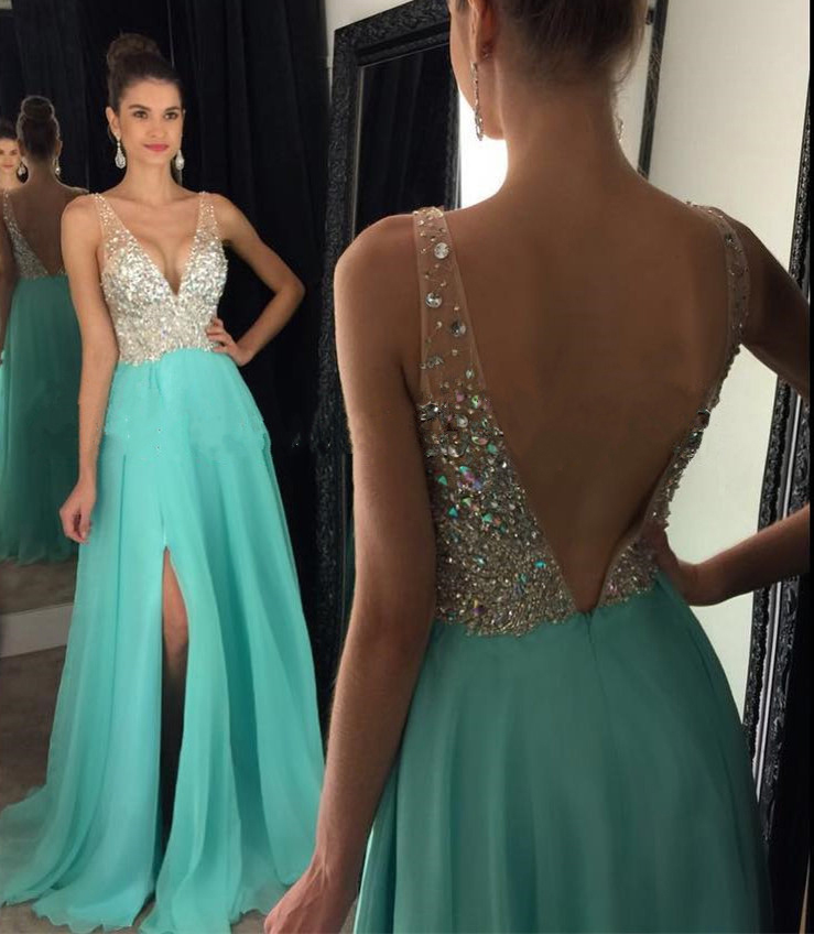 Beaded Mint Green V Neck Formal Gown, 2017 Backless Prom Dress With ...