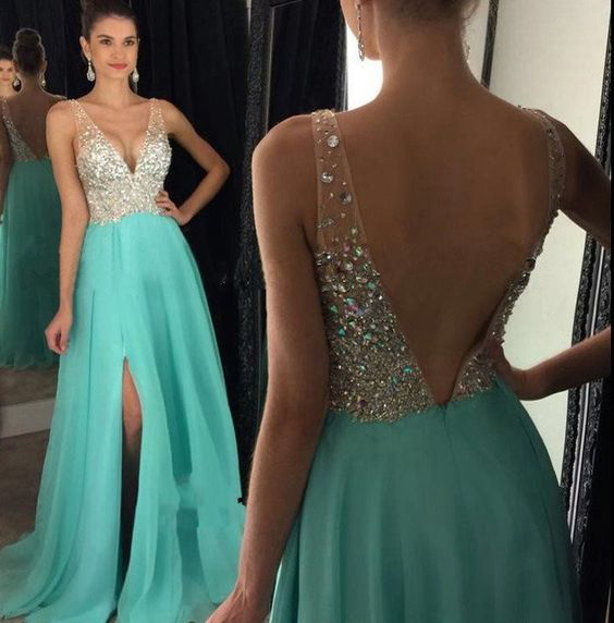 Mint Chiffon with Beaded Prom Dresses,Long Pageant Dresses,Senior ...