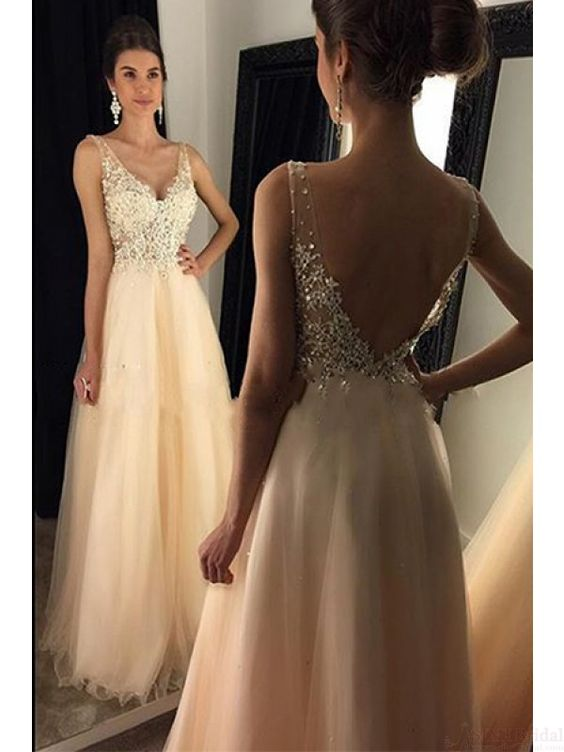A-line V-neck Beaded Bodice Prom Dress Long Evening Formal Party ...