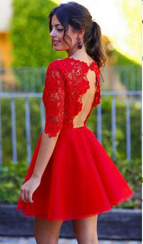 H114 Open back prom dress, long sleeve lace homecoming dress, 2016 ...