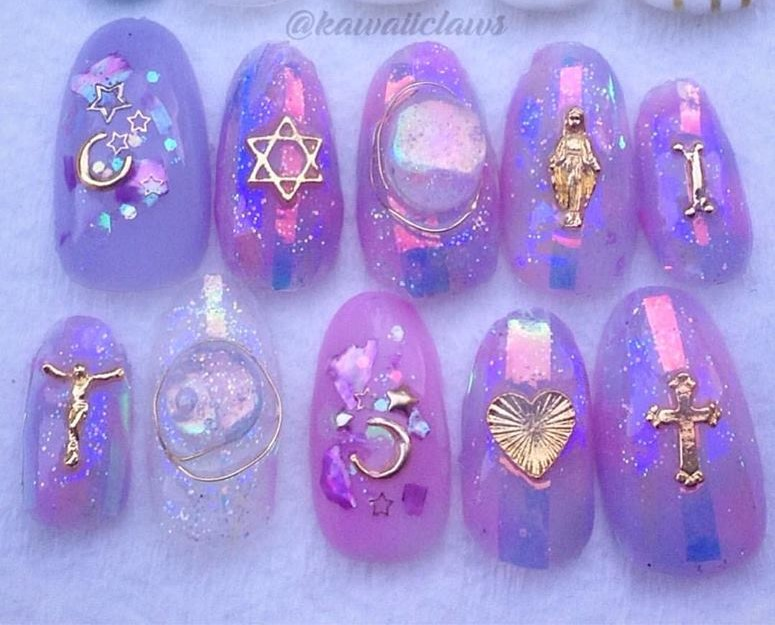 Kawaii Claws   Iridescent Glass Glitter with Religious Icons & Gold ...