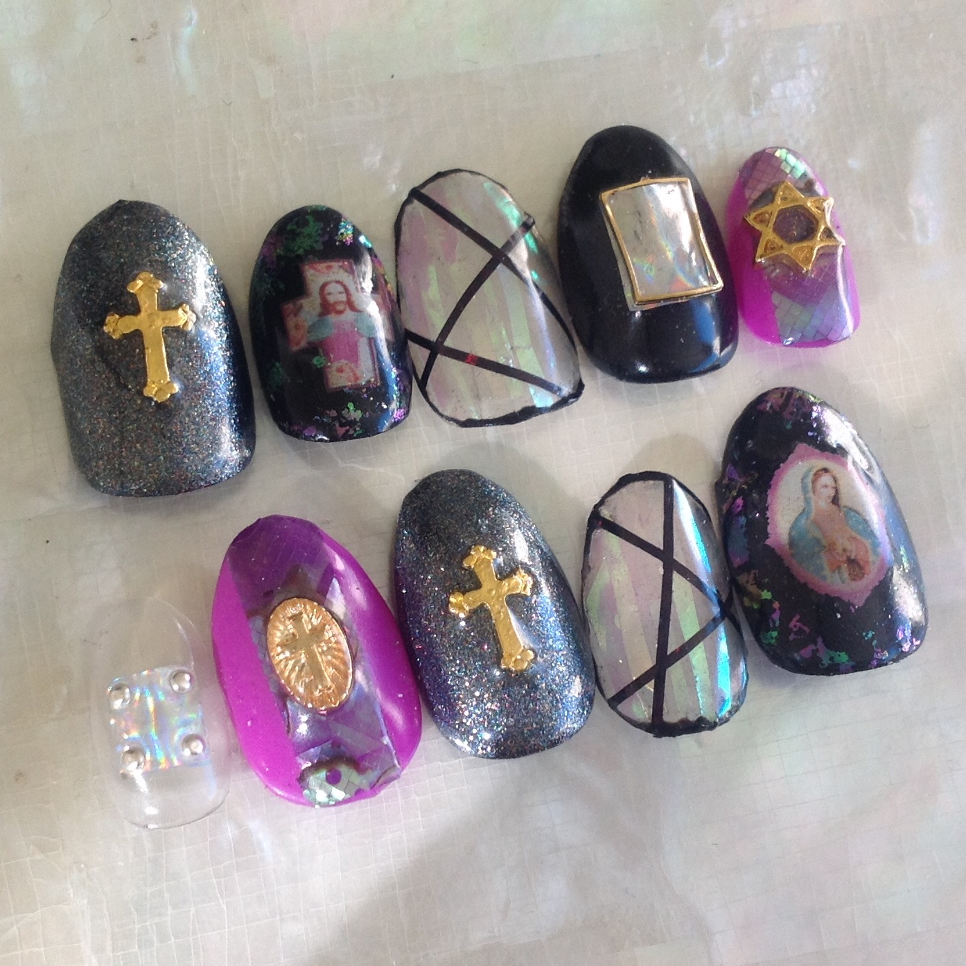 Kawaii Claws | Jesus, Mary, Star of David, Holographic Kawaii Holo ...