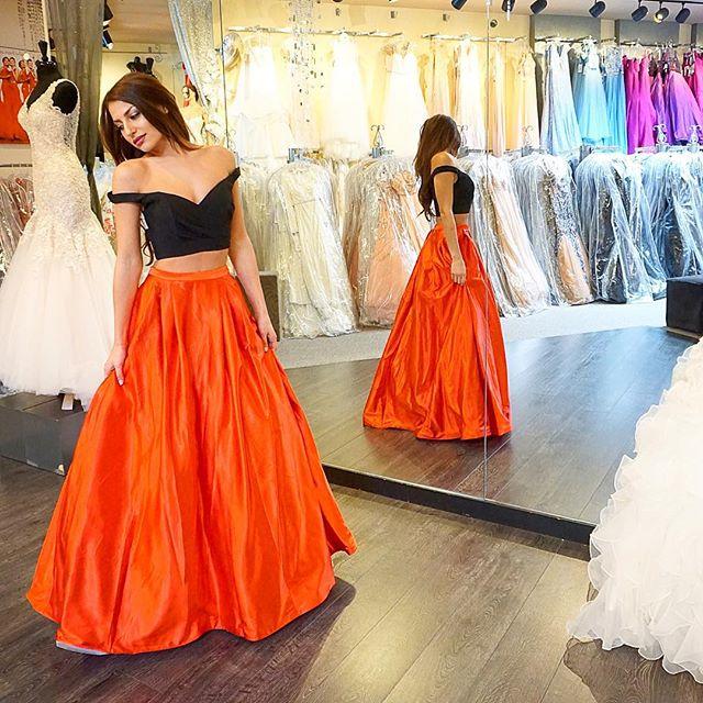 D111 Black And Orange Prom Dresses,Two Pieces Prom Dresses,Floor ...