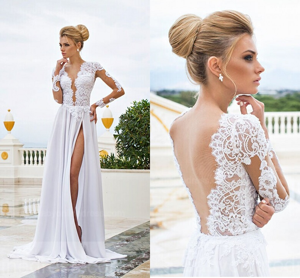 H276 sexy long sleeve v neck wedding dresses 2017 a line split front h276 sexy long sleeve v neck wedding dresses 2017 a line split front junglespirit Images