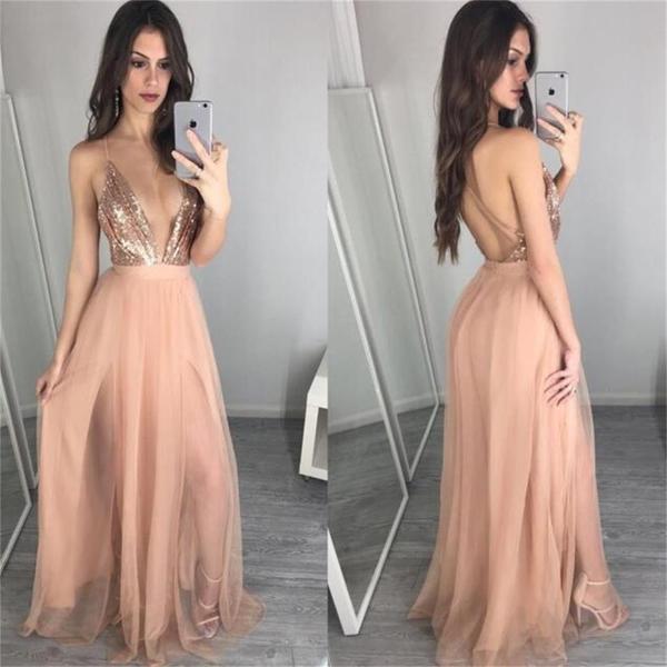 2017 Prom Dress,Deep V-neck Prom Dress, Sequin Evening Dress ...