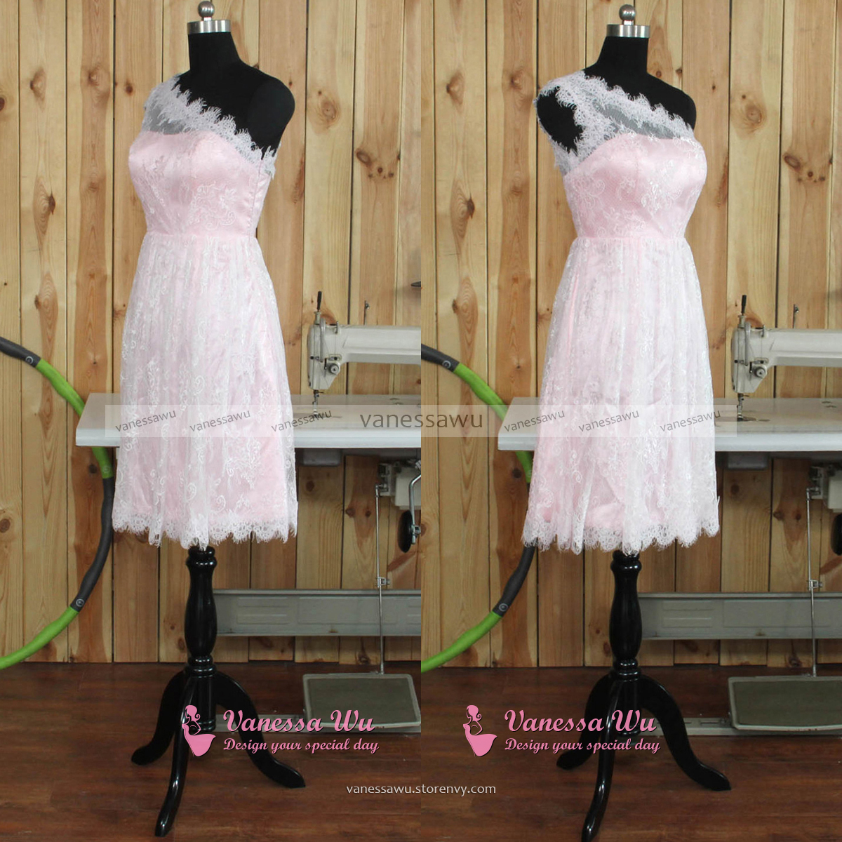 One Shoulder Short Tulle Homecoming Dresses With Lace