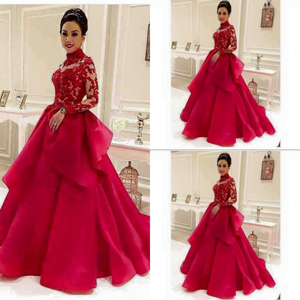 High-Neck Red See-Through Long-Sleeve Lace Evening-Dresses Dubai ...