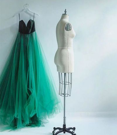 Green A line tulle long prom dress,green