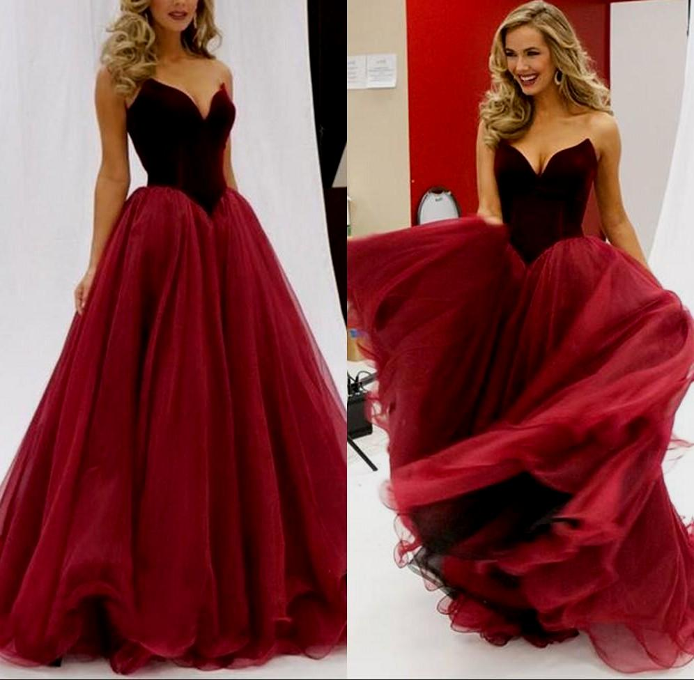F188 Gorgeous Strapless Long Burgundy Prom Dress Evening Dress,Real ...