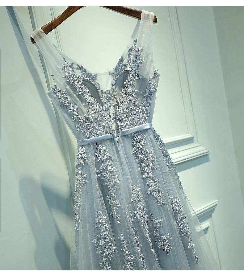 V Neckline Grey Lace Evening Prom Dresses Prom Dresses Shop Online