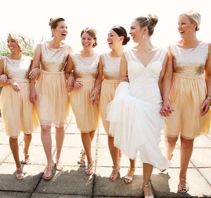 Gold Lace Sequins Top Bridesmaid Dresses Short Bridesmaid Dresses