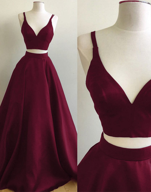 Simple A Line Two Piece V Neck Burgundy Long Prom Evening