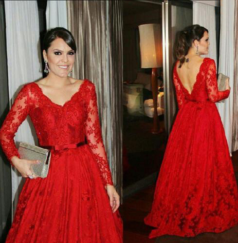 D132 Red Lace Gowns,Ling Sleeve Lace Evening Dresses, V Neck Lace ...