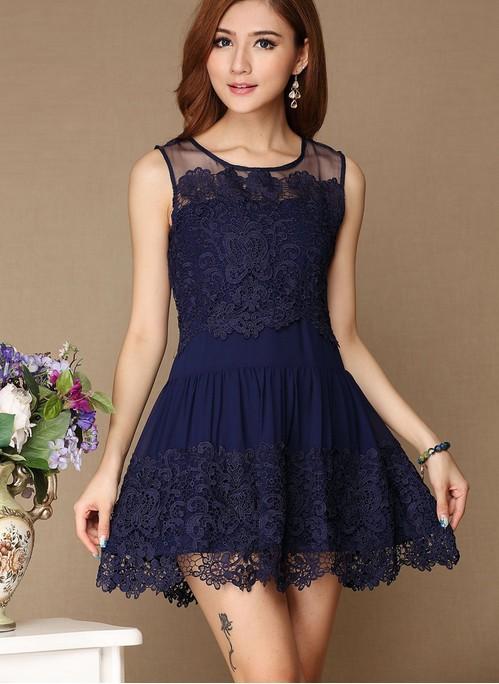 Simple Lace Short Prom Dress,Jewel Mini Navy Blue Party Dress ...