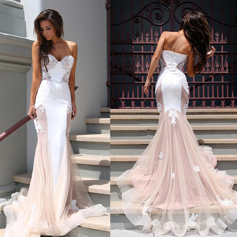 P308 Strapless Mermaid Long Pink Wedding Dress with White Lace ...