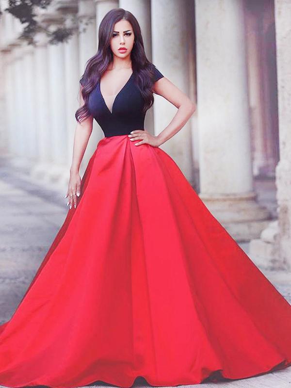 Long Evening Dress 2017,Red A-line V-neck Floor-length Satin Custom ...