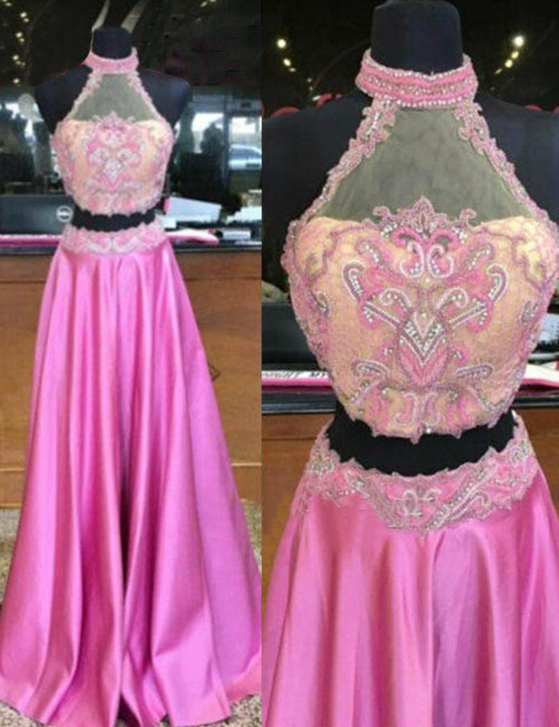 Lace Prom Dress,Rose Pink Prom Dresses,Halter Prom Dress,Backless ...