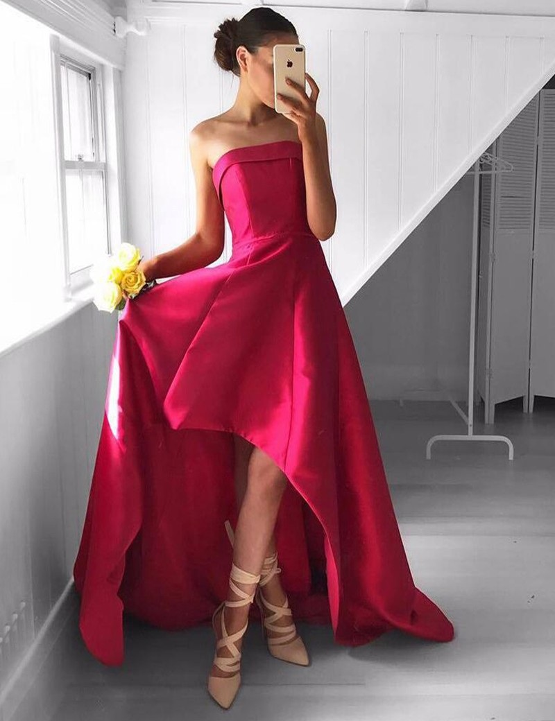 Chic Strapless High-Low Rose Pink Prom Dress,Charming Prom Dress ...