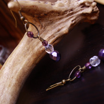 Victoriana Purple and Brass Dangle Earrings