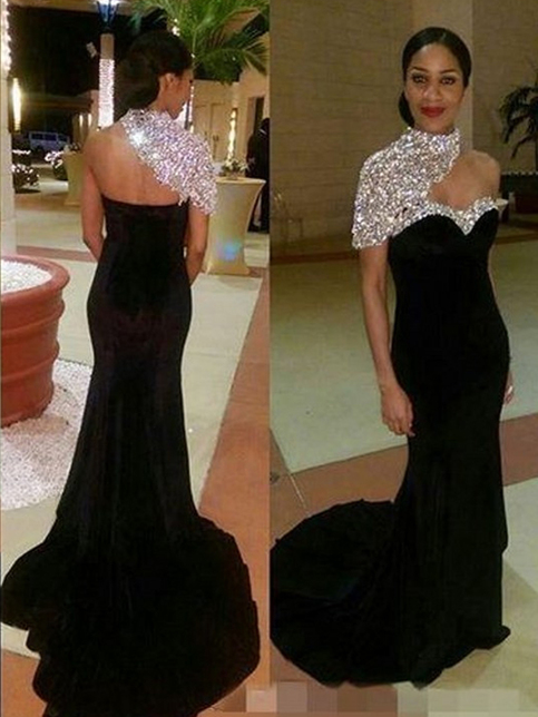 2017 Black Prom Dress Trumpet Mermaid One Shoulder Floor Length Chiffon Customized Evening Dress